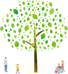 木と人物イラスト